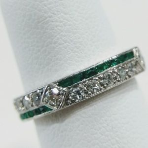 Jewelry - Estate platinum diamond and emerald eternity band